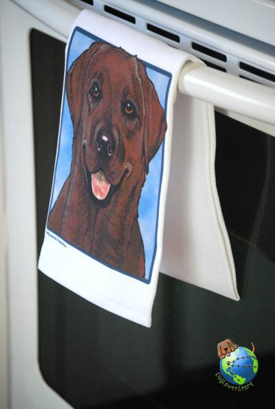 Chocolate Labrador Kitchen Hand Towel 1