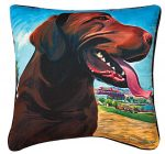 Chocolate Labrador Artistic Throw Pillow 18X18""