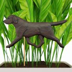 Chocolate Lab Figure Attached to Stake to be Placed in Ground or Garden