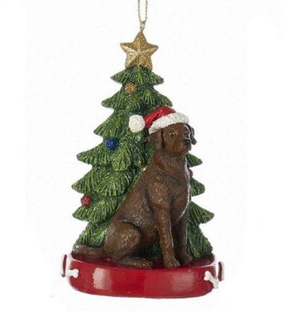 Chocolate Lab Tree Ornament