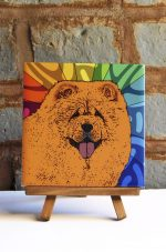 Chow Chow Red Colorful Portrait Original Artwork on Ceramic Tile 4x4 Inches