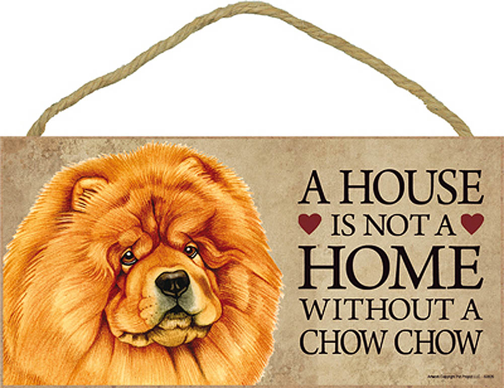 Chow Chow Wood Dog Wall Plaque Photo Display 5 x 10 - A House Is Not A Home + Bonus Coaster