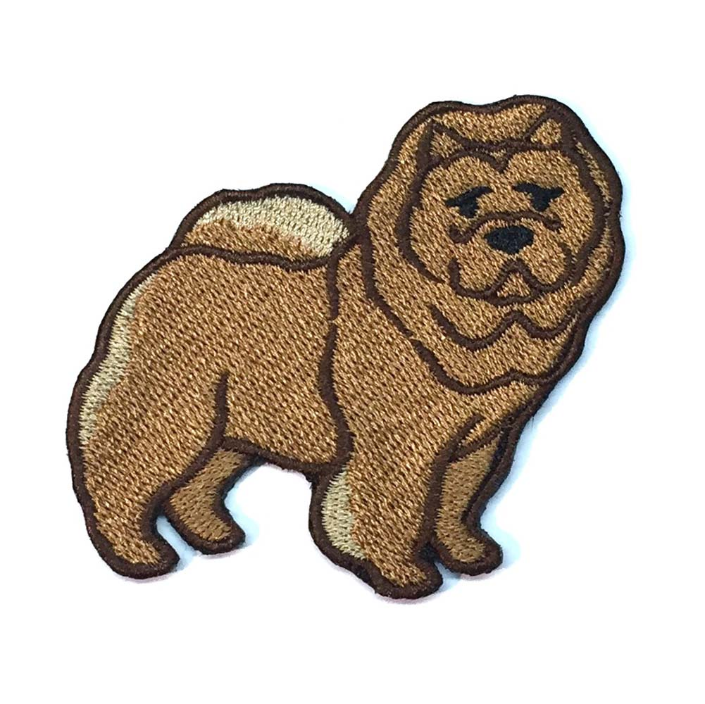 Chow Chow Iron on Embroidered Patch Red
