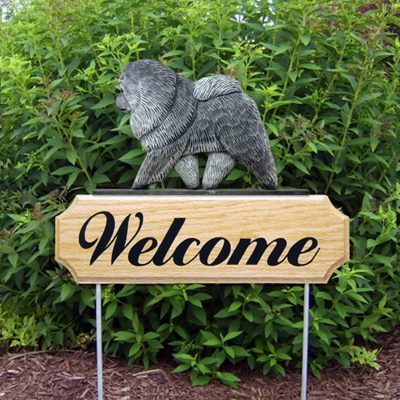Chow Chow Outdoor Welcome Garden Sign Blue/Gray in Color