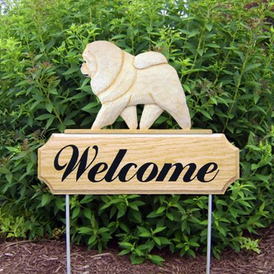 Chow Chow Outdoor Welcome Garden Sign Cream in Color