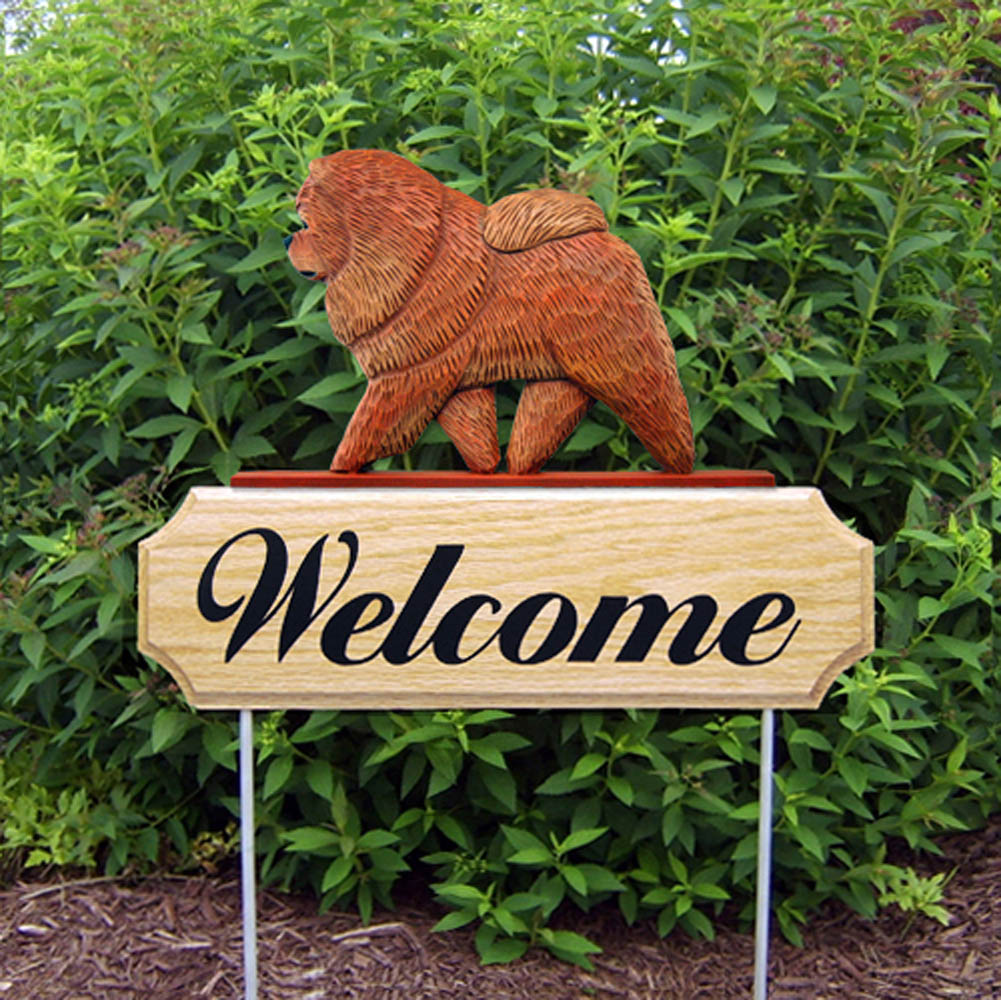 Chow Chow Outdoor Welcome Garden Sign Red in Color