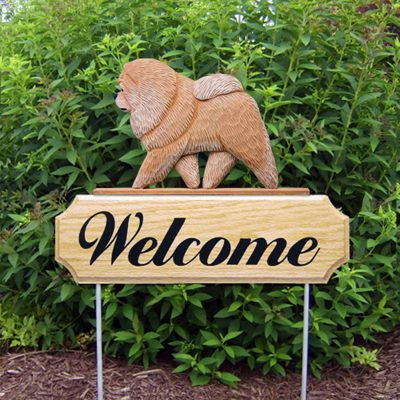 Chow Chow Outdoor Welcome Garden Sign Tan/Red in Color