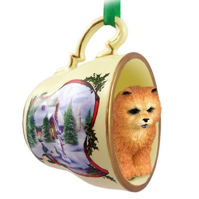 Chow Chow Dog Christmas Holiday Teacup Ornament Figurine Red 1