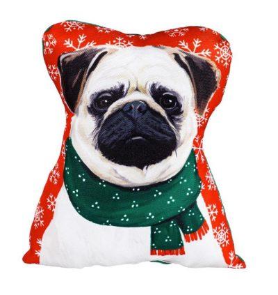 Pug Christmas Pillow