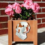 Clumber Spaniel Planter Flower Pot Orange 1