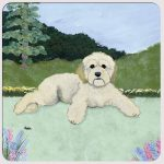 Cockapoo Yard Scene Coasters Set of 4 Cream