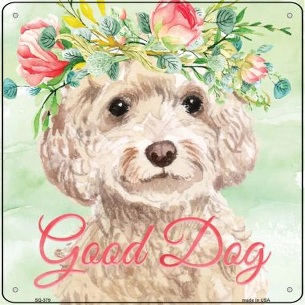 "Cockapoo ""Good Dog"" Metal Sign Cream"