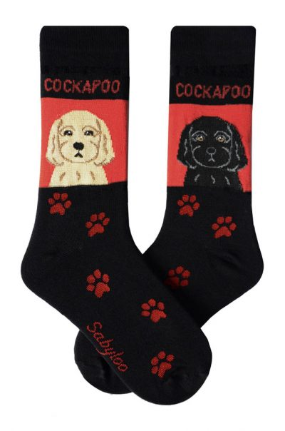 Cockapoo Blonde and Black Socks - Red and Black in Color