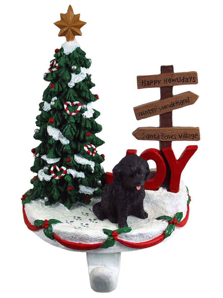 Cockapoo Stocking Holder Hanger Black