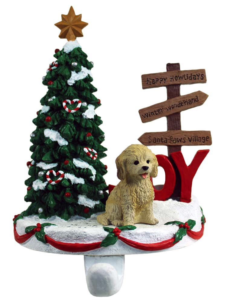Cockapoo Stocking Holder Hanger Blonde