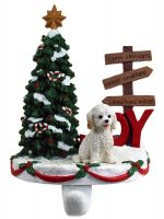 Cockapoo Stocking Holder Hanger White