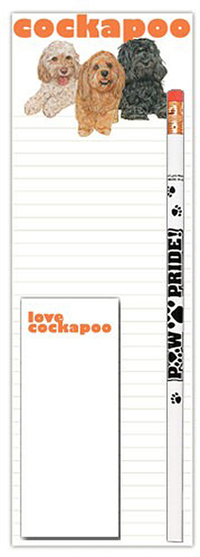 Cockapoo Dog Notepads To Do List Pad Pencil Gift Set
