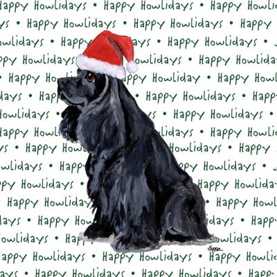 Cocker Spaniel Dog Coasters Christmas Themed Black 1