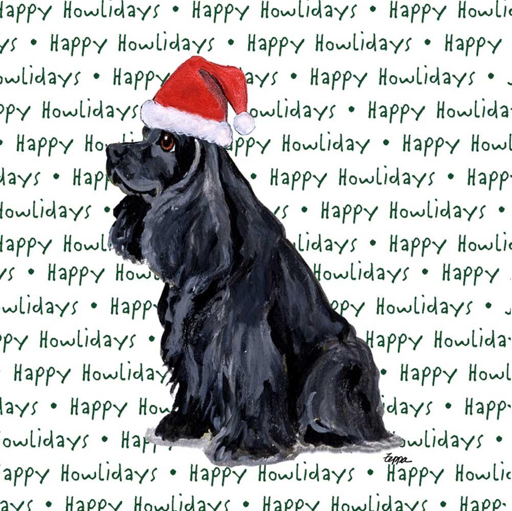 Cocker Spaniel Dog Coasters Christmas Themed Black