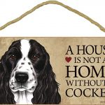 Cocker Spaniel Indoor Dog Breed Sign Plaque – A House Is Not A Home Black + Bonus Coaster 1