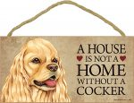 Cocker Spaniel Wood Dog Sign Wall Plaque 5 x 10 + Bonus Coaster