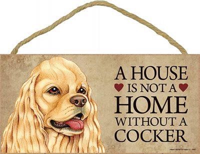Cocker Spaniel Wood Dog Sign Wall Plaque 5 x 10 + Bonus Coaster 1