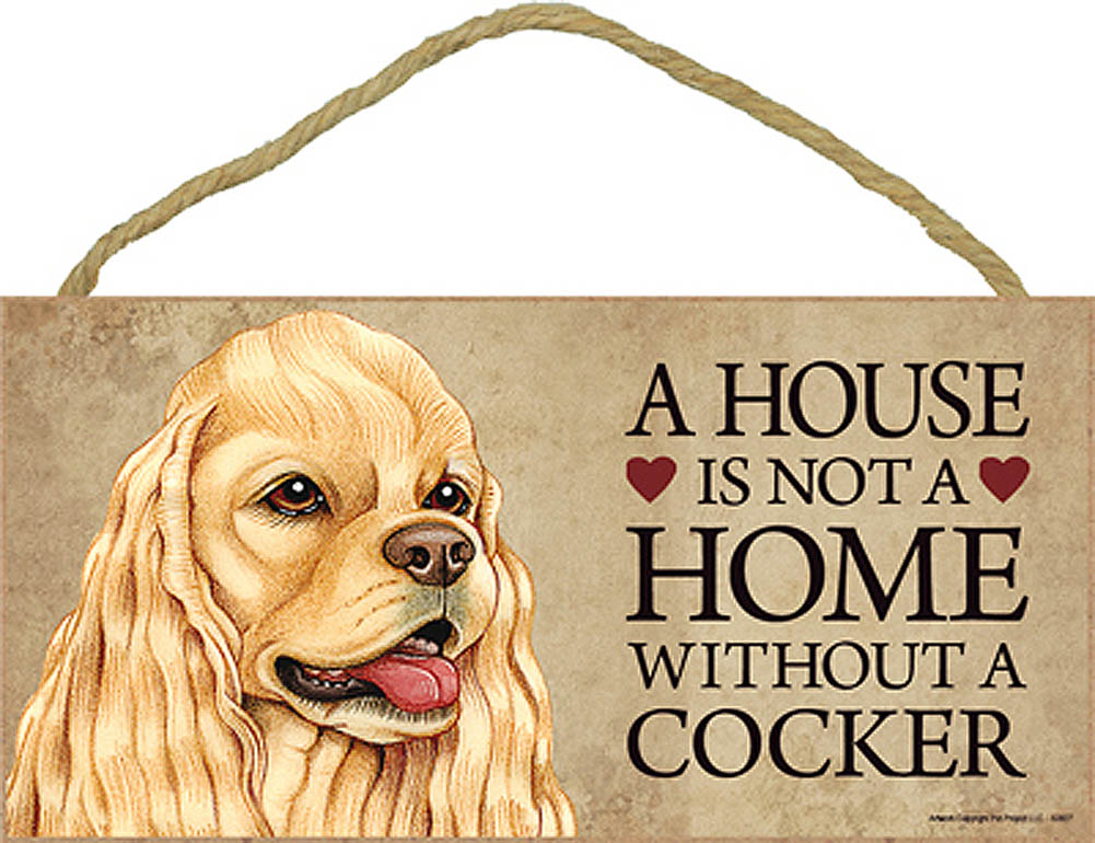 Cocker Spaniel Wood Dog Sign Wall Plaque 5 x 10 + Bonus Coaster