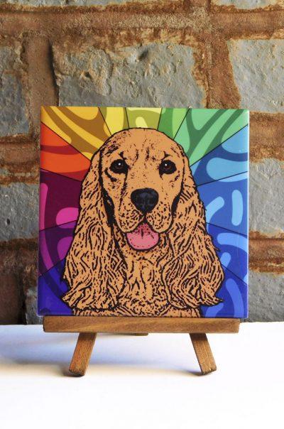 Cocker Spaniel Brown Colorful Portrait Original Artwork on Ceramic Tile 4x4 Inches