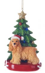 Cocker Spaniel Christmas Tree Ornament Blonde