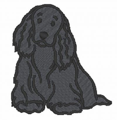 Cocker Spaniel Embroidered Iron on Patch Black