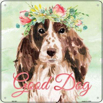 "Cocker Spaniel ""Good Dog"" Metal Sign Brown"