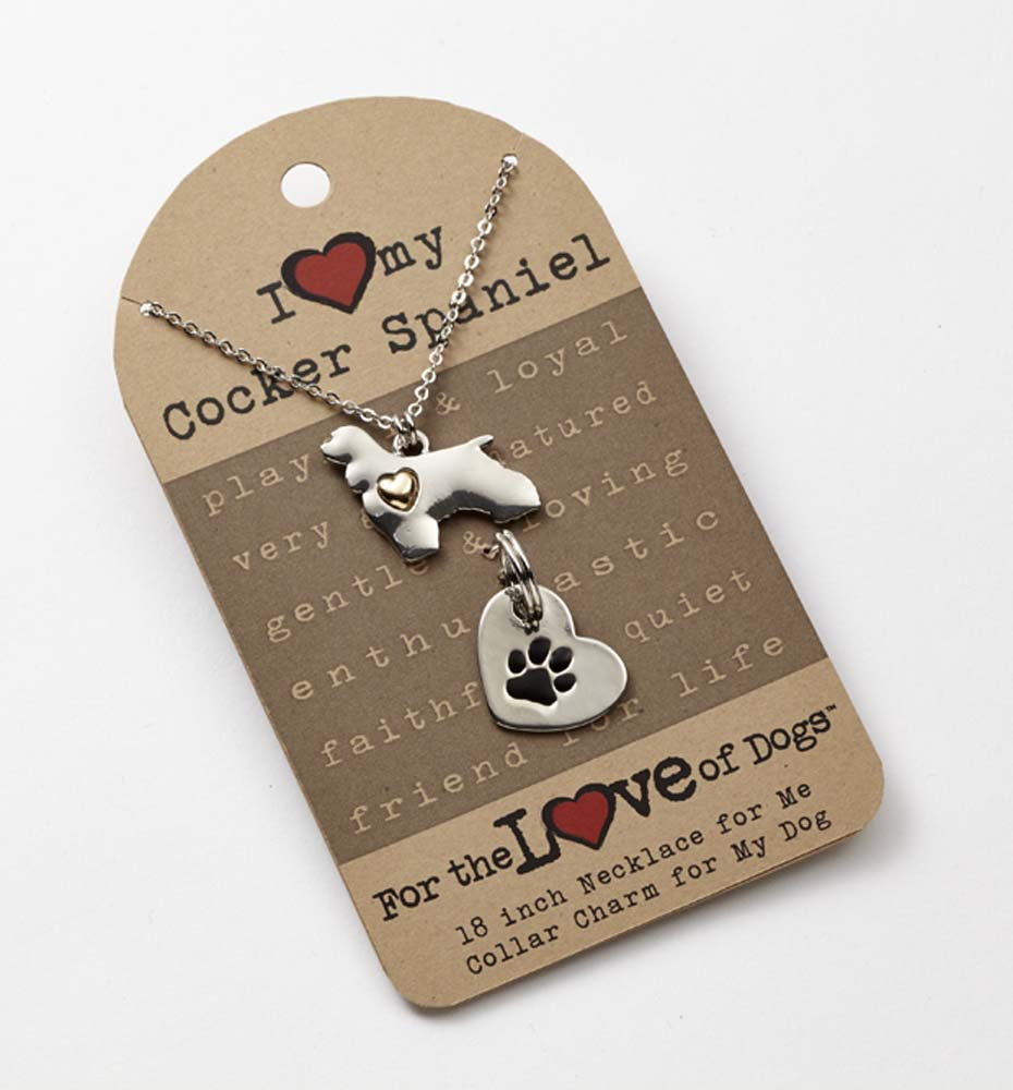 Cocker Spaniel Necklace & Collar Charm Set 16 Inches