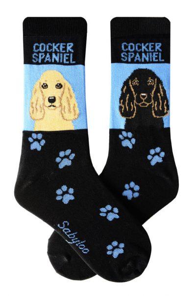 Cocker Spaniel Socks Blonde and Black - Blue and Black in Color