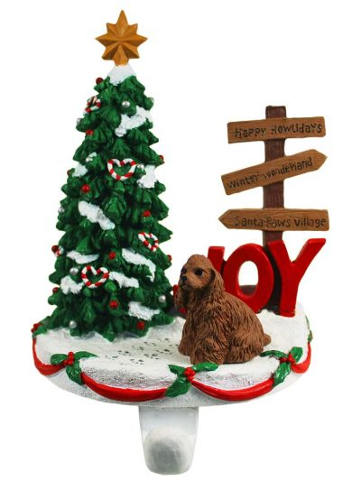 Cocker Spaniel Stocking Holder Hanger Brown