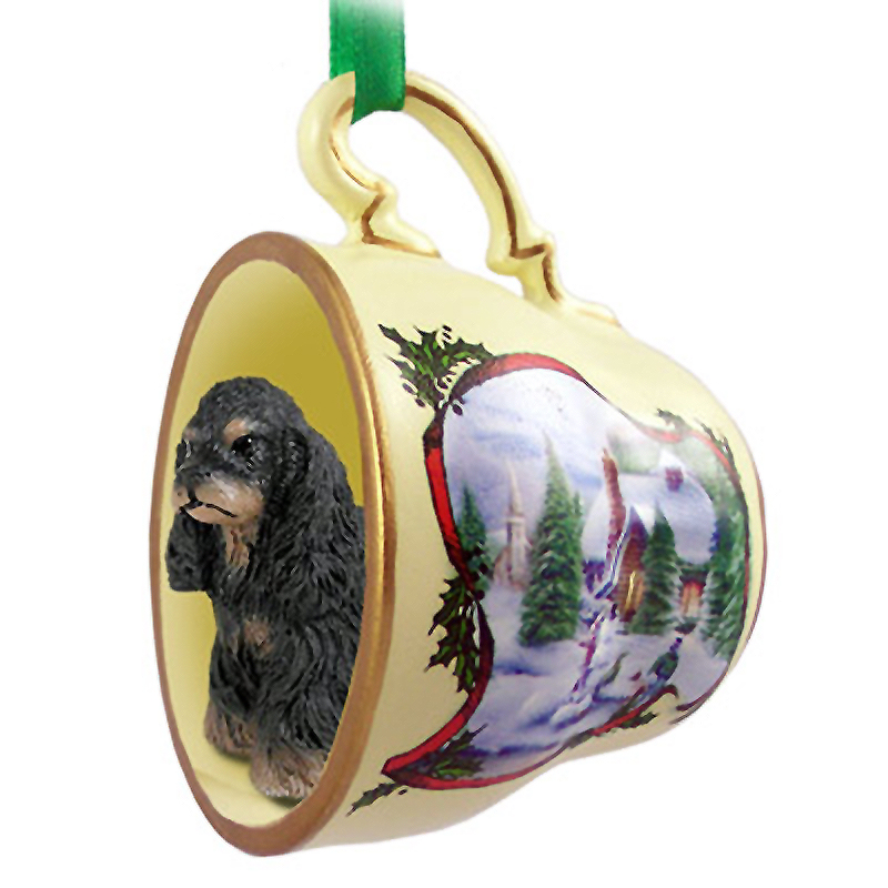 Cocker Spaniel Dog Christmas Holiday Teacup Ornament Figurine Blk/Brwn