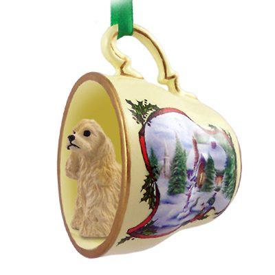 Cocker Spaniel Dog Christmas Holiday Teacup Ornament Figurine Blonde 1