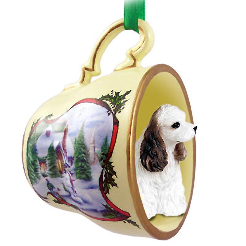 Cocker Spaniel Dog Christmas Holiday Teacup Ornament Figurine Brwn/Wht