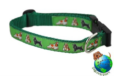 "Cocker Spaniel Dog Breed Adjustable Nylon Collar Medium 10-16"" Green"