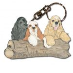 Cocker Spaniel Wooden Dog Breed Keychain Key Ring