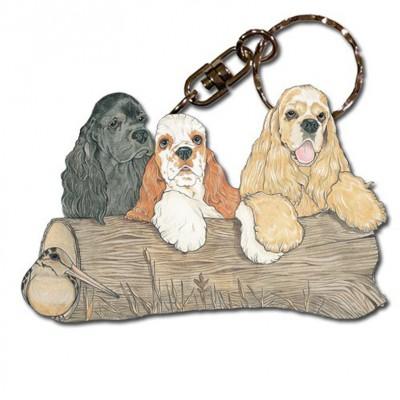 Cocker Spaniel Wooden Dog Breed Keychain Key Ring