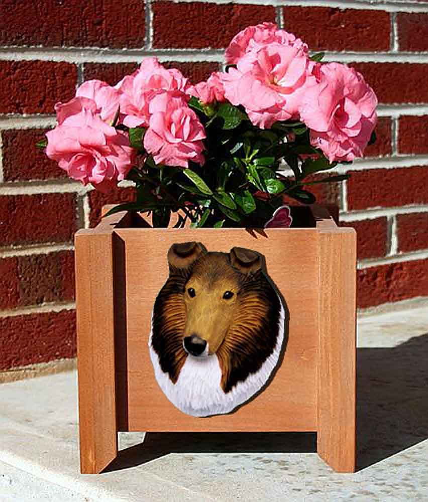 Collie Planter Flower Pot Rough Sable