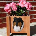Collie Planter Flower Pot Rough Tri Merle 1