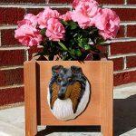 Collie Planter Flower Pot Rough Blue Merle 1