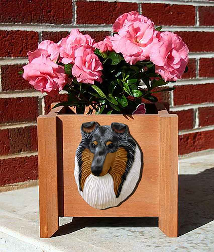 Collie Planter Flower Pot Rough Blue Merle