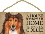 Collie Wood Dog Sign Wall Plaque Photo Display 5 x 10 + Bonus Coaster