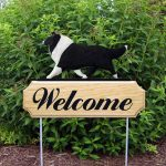 Collie Outdoor Welcome Garden Sign Black & White in Color