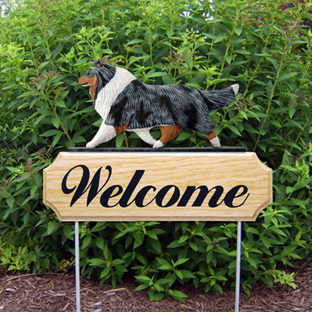 Collie Outdoor Welcome Garden Sign Blue in Color