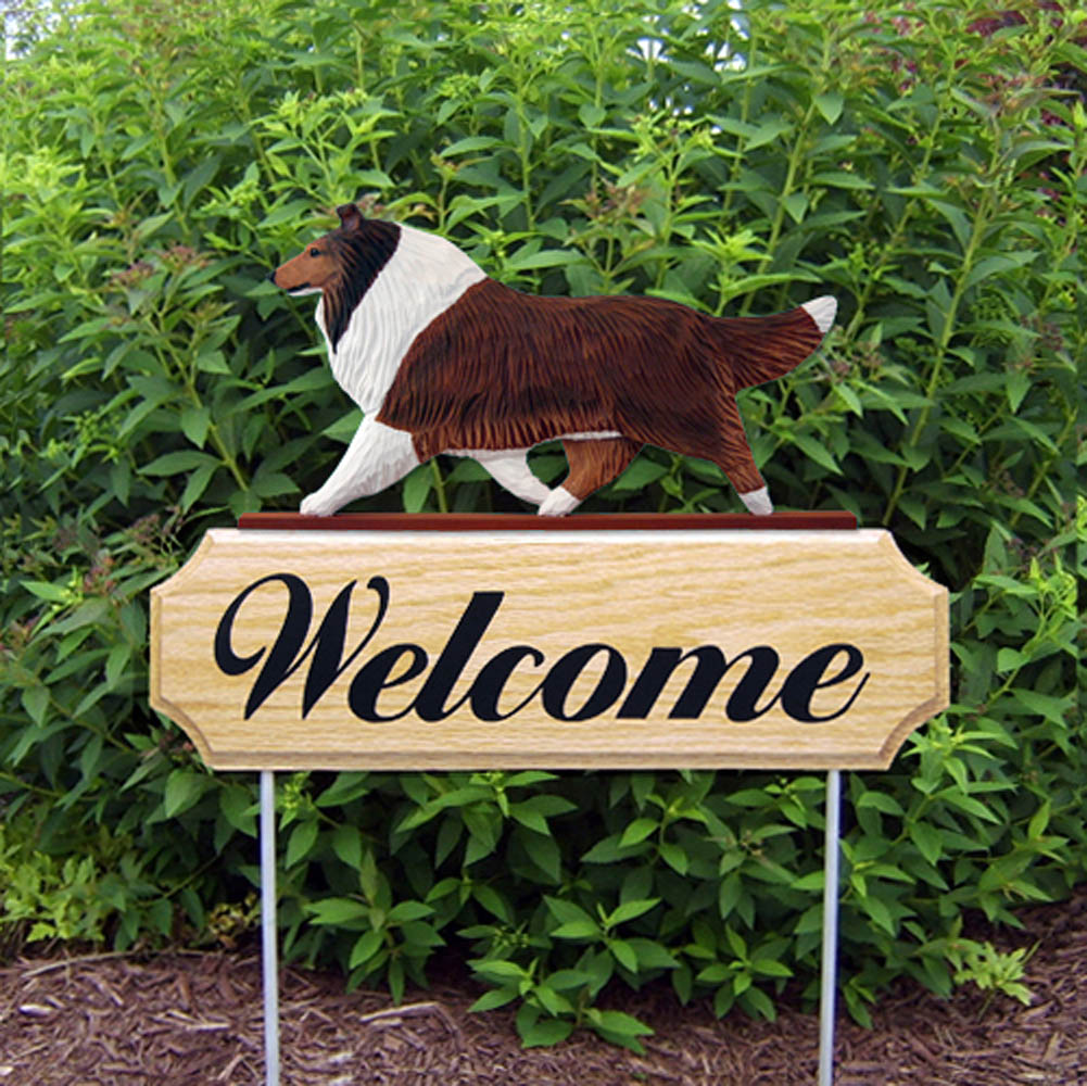 Collie Outdoor Welcome Garden Sign Sable in Color