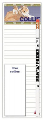 Collie Dog Notepads To Do List Pad Pencil Gift Set 1