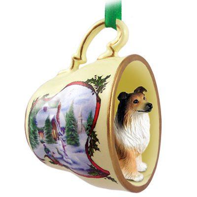 Collie Dog Christmas Holiday Teacup Ornament Figurine Sable 1